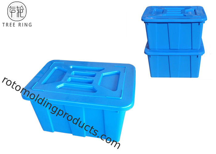 High Dense Plastic Storage Crates With Lids Dolly For Laundry C614 95Kg Stackable